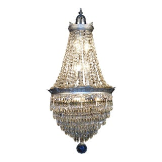 Antique Art Deco 1920 Silver Dore Brilliant Crystal Cake Chandelier For Sale