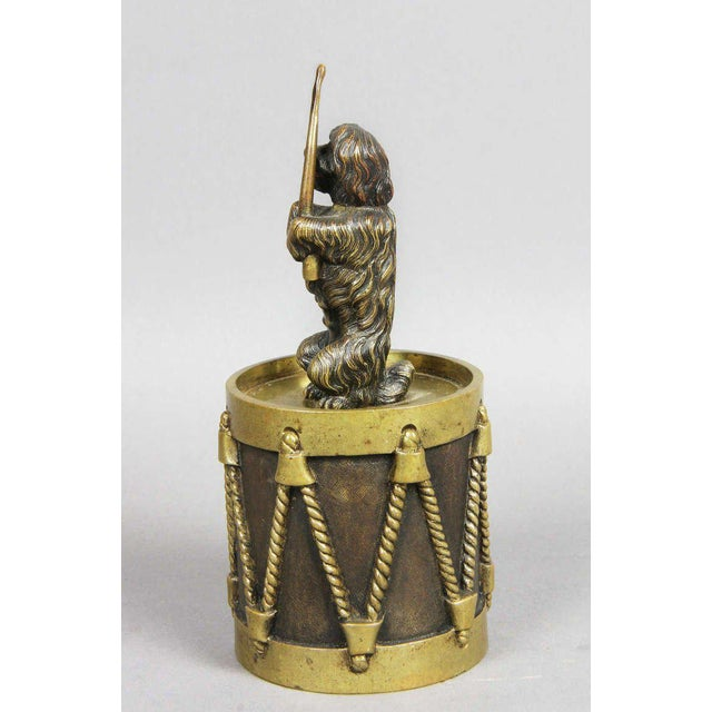 European Bronze Figure Of A Dog Seated On A Drum Dinner Bell For Sale - Image 4 of 7