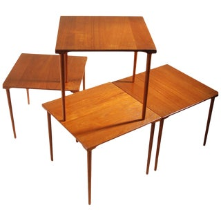 Four Stackable Peter Hvidt for John Stuart Danish Solid Teak End Tables For Sale