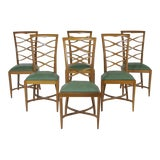 Image of 1950s Vintage Italian Oak Chairs Gio Ponti- Set of 6 For Sale