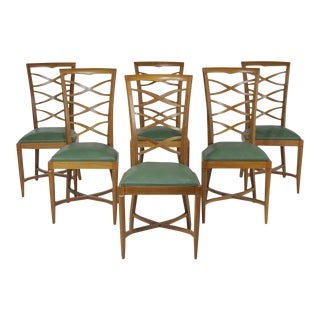 1950s Vintage Italian Oak Chairs Gio Ponti- Set of 6 For Sale