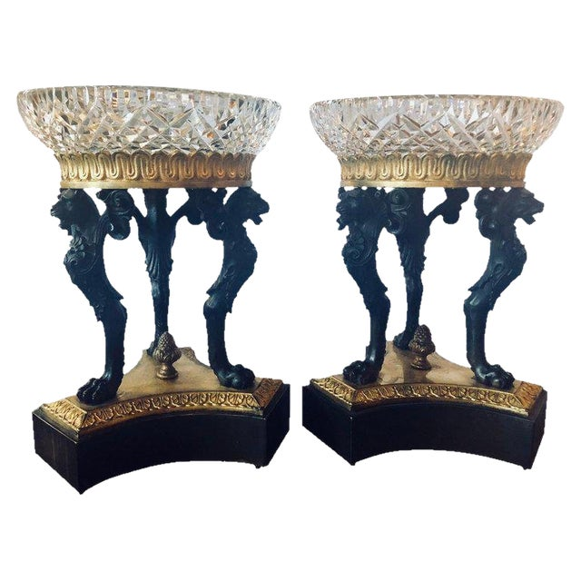 Pair of Empire Figural Tazzas / Compotes Doré and Patinated With Cavan Crystal For Sale