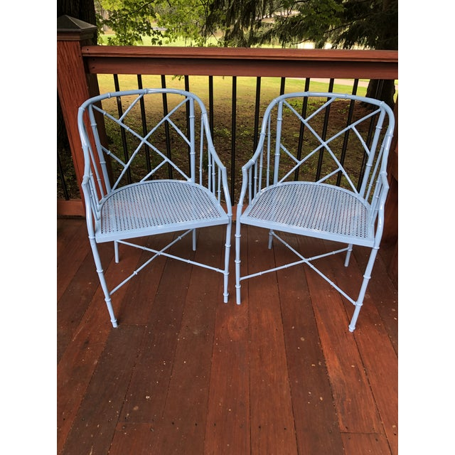 1970s 1970s Vintage Cast Aluminum Chinese Chippendale Faux Bamboo Barrel Chairs- A Pair For Sale - Image 5 of 13