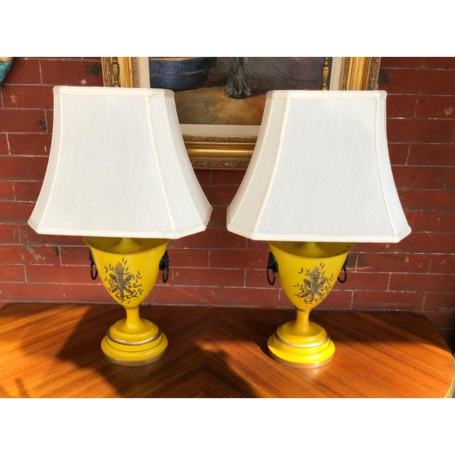 A pair of Warren Kessler painted yellow metal urn lamps. Lampshades NOT included.
