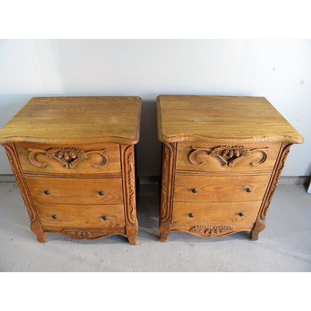 Carved Oak Nightstands - A Pair - Image 5 of 7