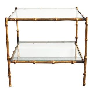 Vintage Italian Gold Gilt Faux Bamboo Table