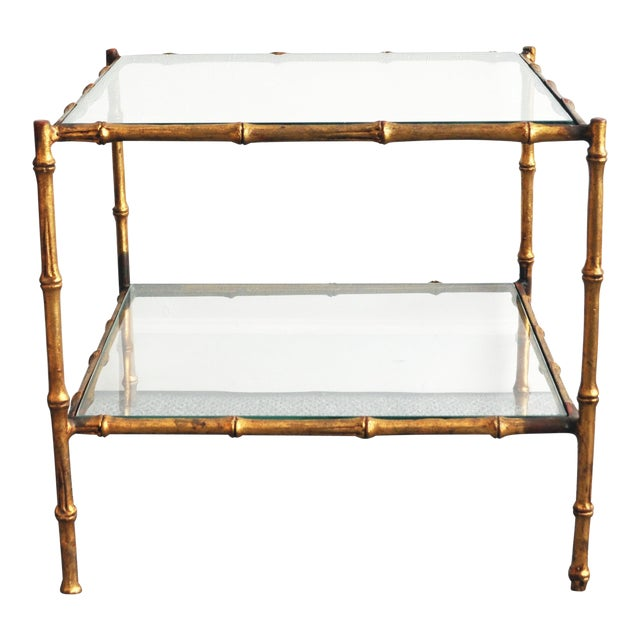 Vintage Italian Gold Gilt Faux Bamboo Table - Image 1 of 11