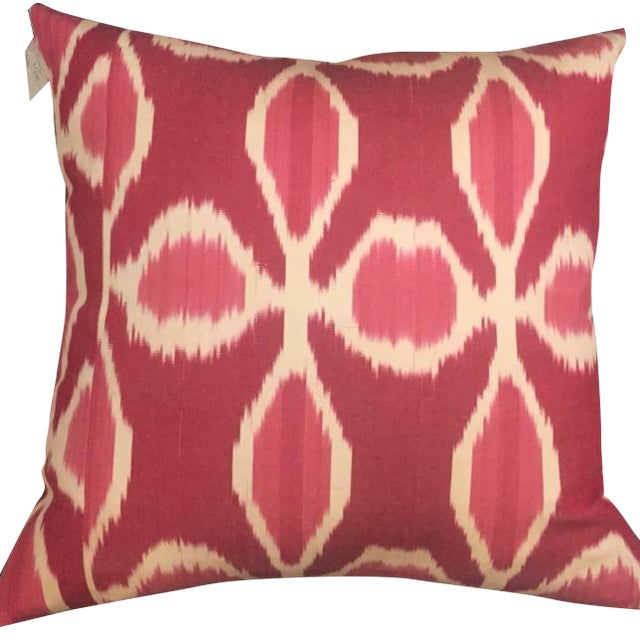 Floral Ikat Pillows - A Pair For Sale