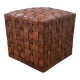 Image of Modern Saddle Brown Leather Basket Weave Design Ottoman For Sale