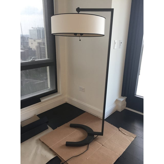 Contemporary Metal Silk Shade Floor Lamp 2 Available For Sale In Chicago - Image 6 of 11