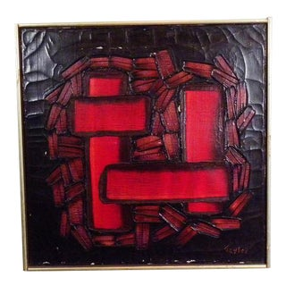 Vintage Modern Mid Century Abstract Painting For Sale