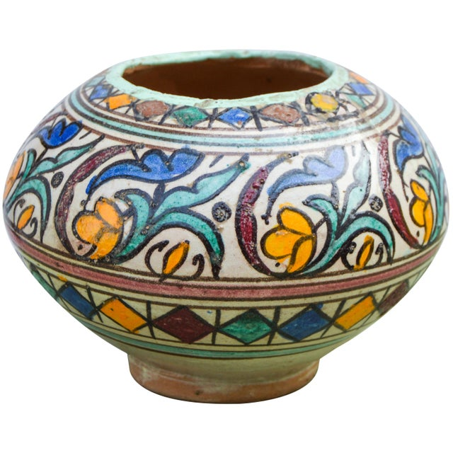 Islamic Moroccan Ceramic Vase For Sale - Image 3 of 9