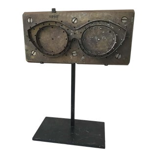 1950s French Eyeglass Mold on Custom Iron Base For Sale