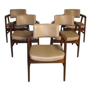 Vintage Mid Century Gunlocke Company Walnut Arm Chairs- Set of 5 For Sale