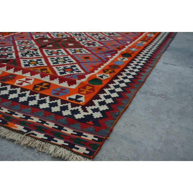 Persian Handwoven Wool Kilim Rug - 5′2″ × 9′9″ For Sale - Image 4 of 6