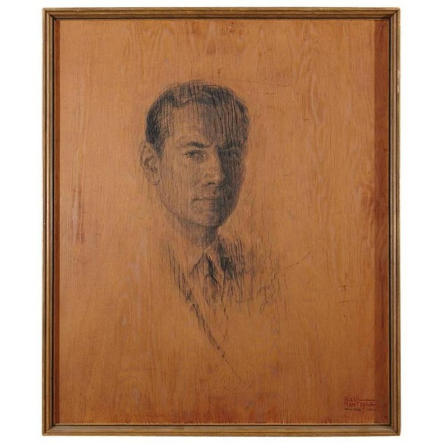 Raul Manteola, Portrait of a Gentleman, New York, 1964, Rare Pencil on Wood For Sale In New York - Image 6 of 6