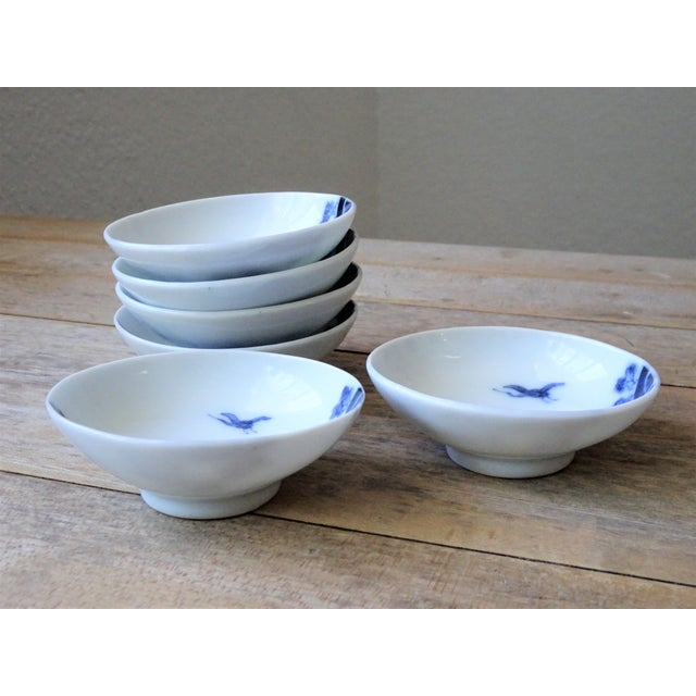 Vintage Japanese Blue and White Small Dishes - Set of 6 For Sale - Image 4 of 13