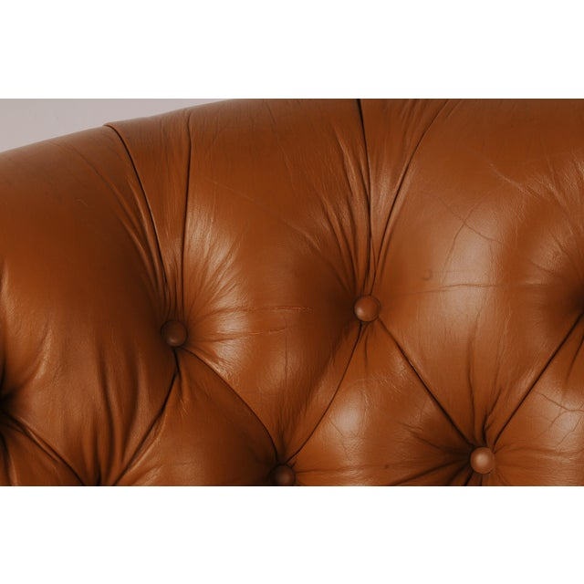 Tufted Swivel Chairs in Carmel Leather by Nicos Zographos - A Pair For Sale - Image 9 of 12