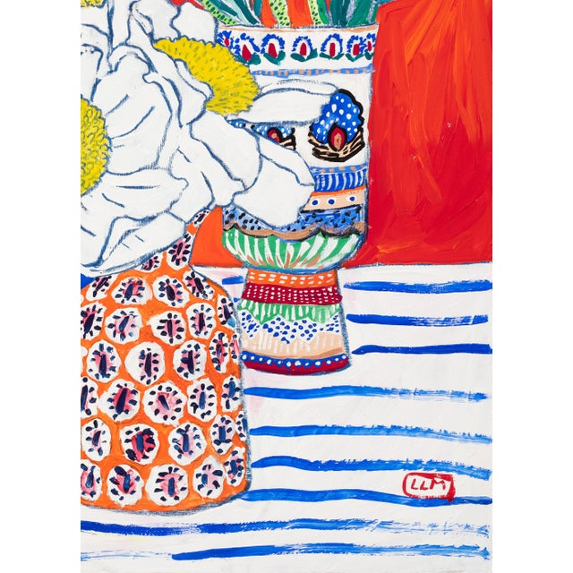 This vibrant vermilion toned painting features a couple of beautifully patterned anthropologie vases on a blue and white...