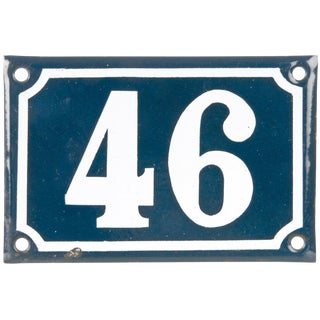 Vintage French Porcelain House Number 46