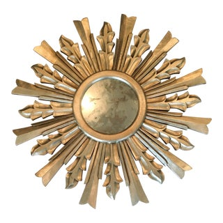 Worlds Away Distressed Silver Leaf Starburst Antiqued Mirror For Sale