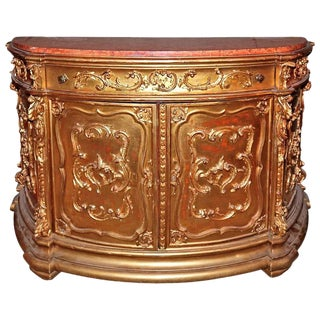 19th Century Italian Gilded Marble Top Buffet For Sale