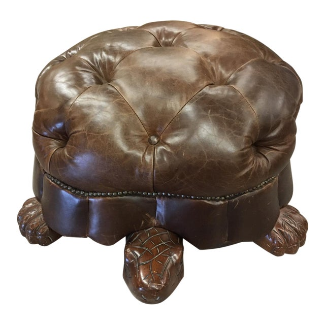 Brown Leather Tufted Turtle Ottoman For Sale