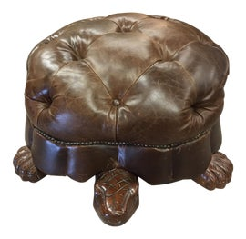 Image of Tufted Leather Ottomans