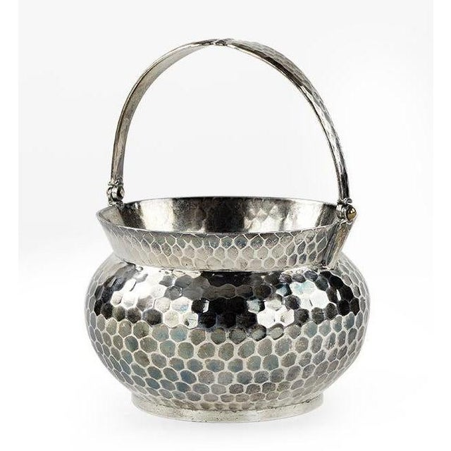 Sterling Silver Epergne Centerpiece Basket. Made by Black, Starr & Frost in New York, circa 1920. With a honeycomb pattern...