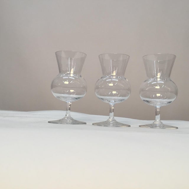 "Set of 3 pretty crystal glasses. ""Baccarat France"" etched on bottom of each stem. Circa 1990s."
