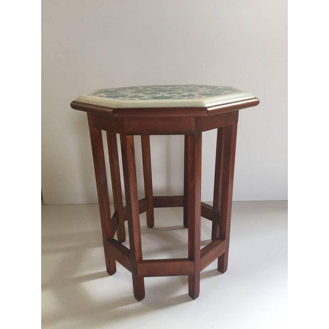 Pietra Dura Marble-Topped Octagonal Table Inlaid in Taj Mahal Anglo Raj Style For Sale - Image 13 of 13