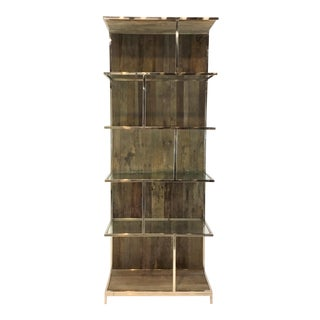 Interlude Home Industrial Modern Recycled Elm and Nickel Soto Bookshelf For Sale