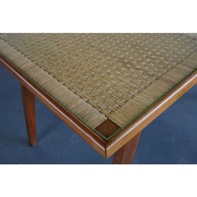 Articulate Woven Mid Century Dining Set in Teak With Glass Top Table For Sale In Orlando - Image 6 of 9