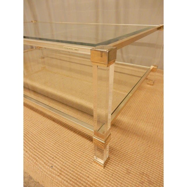 Hollywood Regency Pierre Vandel Mid-Century Modern Brass and Glass Coffee Table For Sale - Image 3 of 7