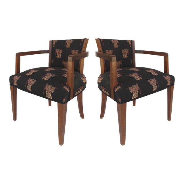 French Art Deco Arm Chairs - A Pair For Sale