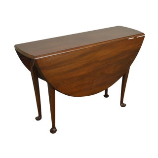 1970s Vintage the Henry Ford Museum Collection Solid Mahogany Queen Anne Drop Leaf Table For Sale