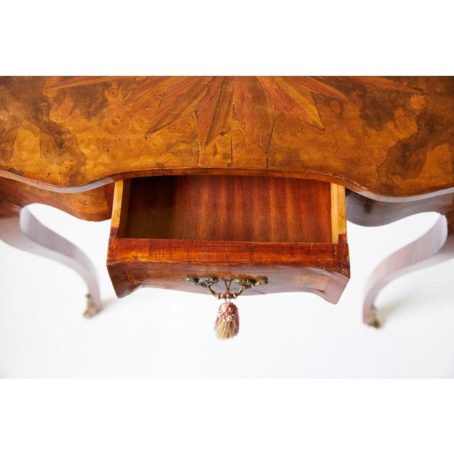 Late 19th Century Italian Side Table With Star Marquetry Top For Sale - Image 5 of 9