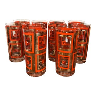 1960s Mid-Century Modern Georges Briard Orange & Gold Highball Glasses - Set of 10 For Sale