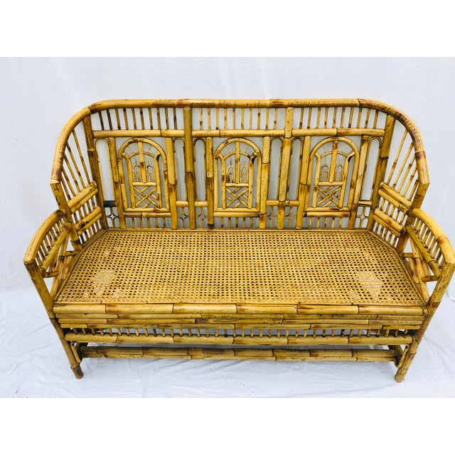 Vintage Chinese Chippendale Bamboo & Cane Settee For Sale - Image 4 of 13