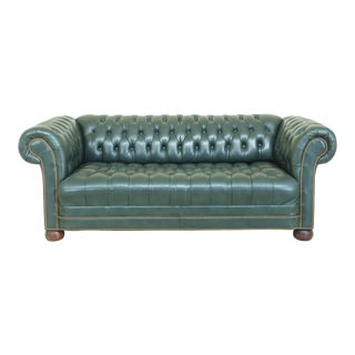 Chesterfield Style Green Tufted Leather Sofa For Sale