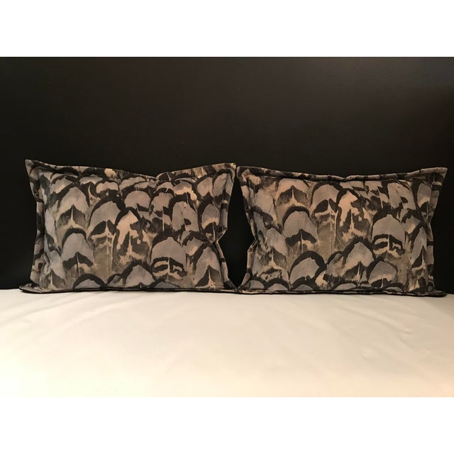 Feather Contemporary Scalamandre Velvet Feather Amimal Print Pillows - a Pair For Sale - Image 7 of 7