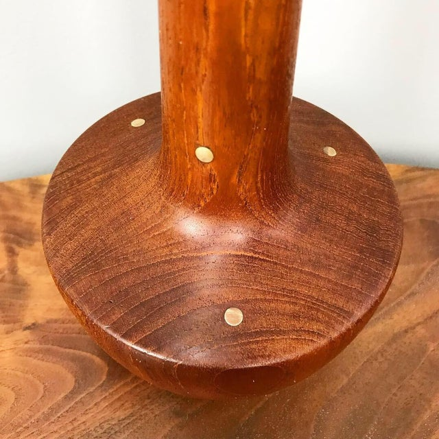 Danish Solid Teak Table Lamp With Brass Inlays For Sale - Image 4 of 11