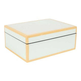 Modernist Square Lacquered Rectangular Box in Pale Celadon with Tan Accents For Sale