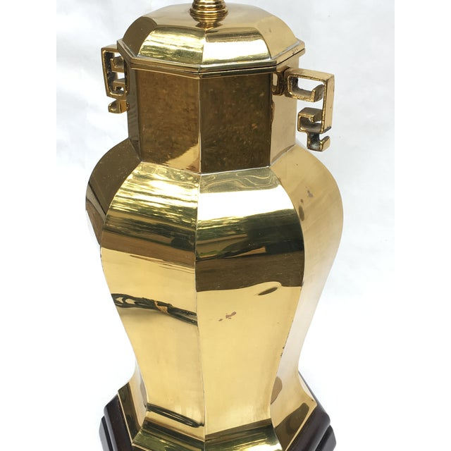 Gold Vintage Asian / Chinese Style Brass Ginger Jar Table Lamp For Sale - Image 8 of 10