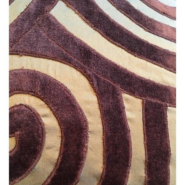 Traditional Brown Velvet & Gold Silk Swirl Pillow For Sale - Image 3 of 4