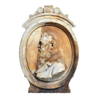 Early 20th Century French Architecture Relief Marble Carving of Jules Verne For Sale