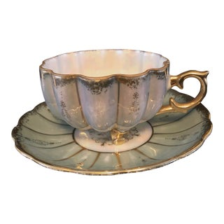 Royal Sealy Aqua Lustre Ware Scalloped Teacup and Saucer For Sale