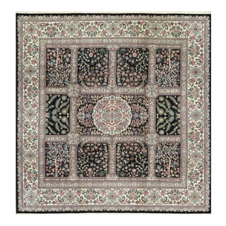 Traditional Hand Woven Black and Ivory Wool Rug 10' X 10' For Sale