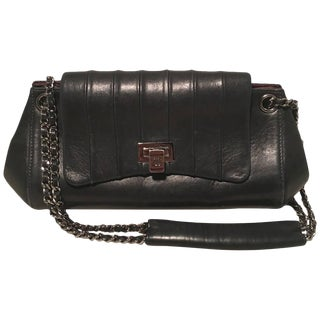 Chanel Black Leather Pleated Top Flap Classic Shoulder Bag For Sale