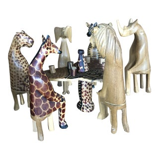 1990s Vintage African Animal Figurines Having Lunch - Set of 14 For Sale